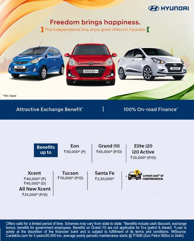 This Independence Day Enjoy Great Offers On Hyundai